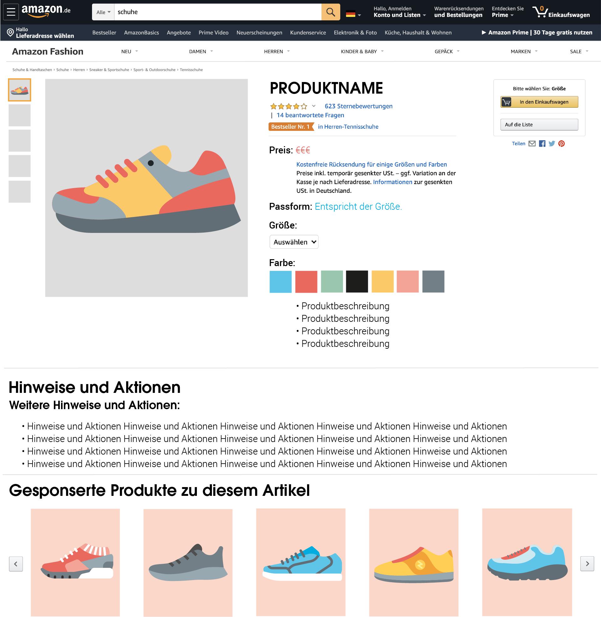 """Anzeigen zu gesponserten Produkten erscheinen unter der Überschrift """"Gesponserte Produkte zu diesem Artikel"""" auch auf Produktdetailseiten."""