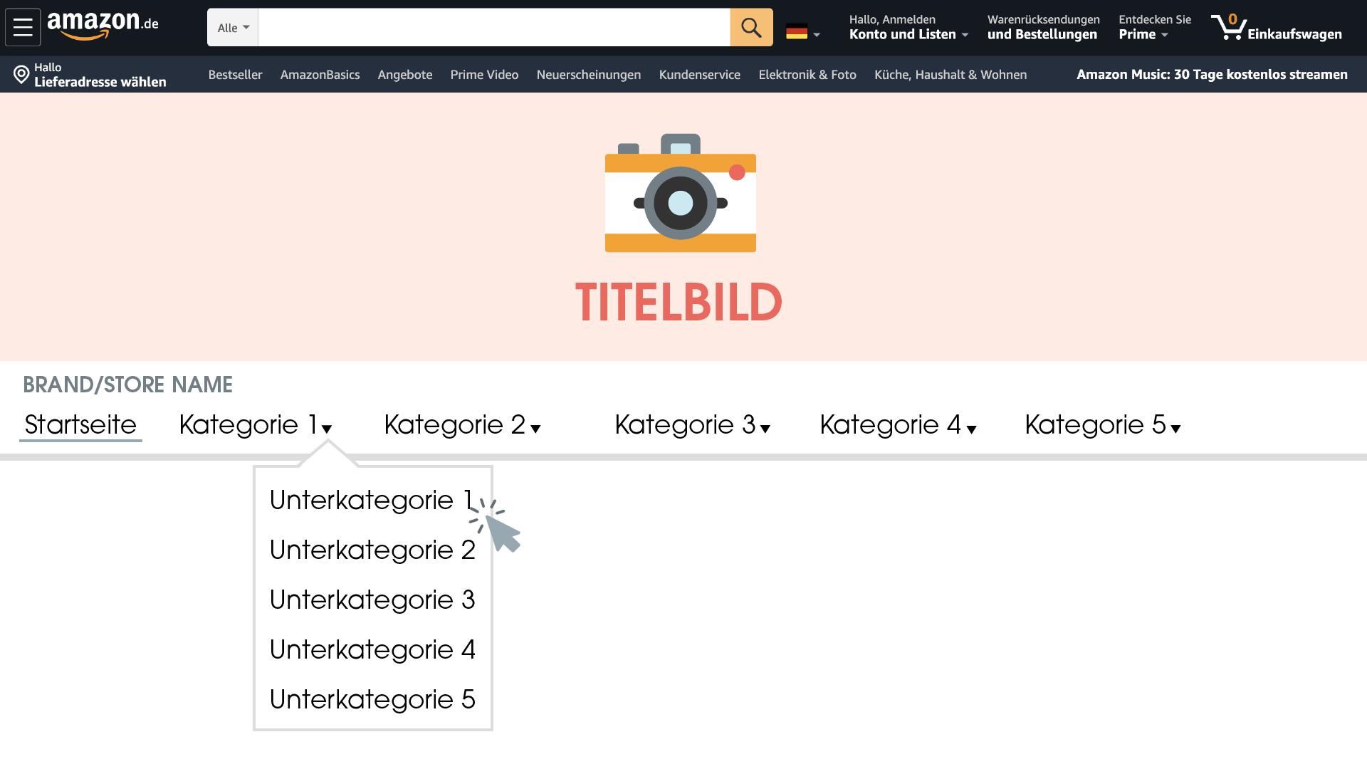 Ein Brand Store bietet die Möglichkeit, eine eigene Startseite und verschiedene Unterkategorien innerhalb Amazons zu erstellen.