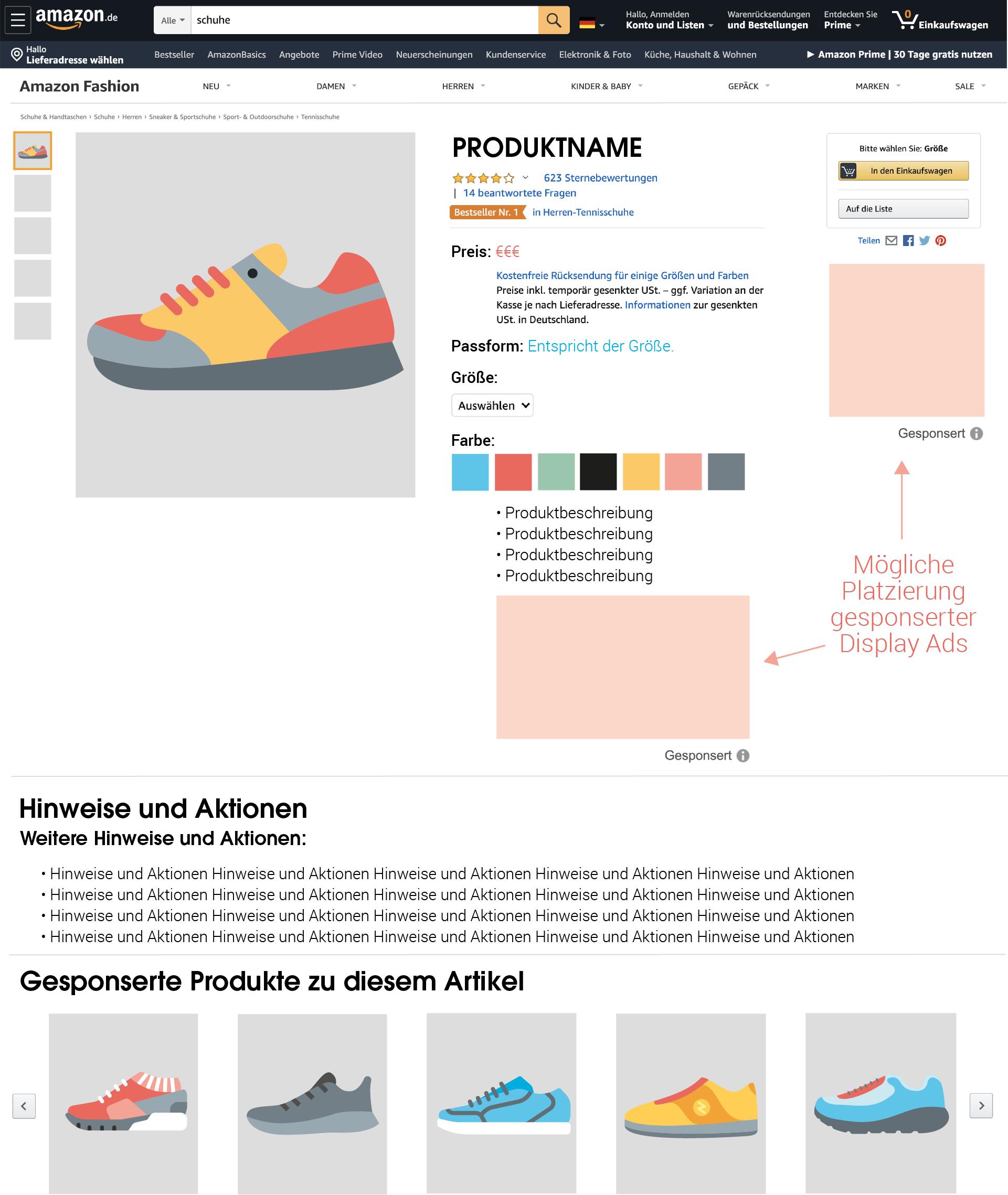 Die Platzierung für Sponsored Display Ads auf Produktdetailseiten.