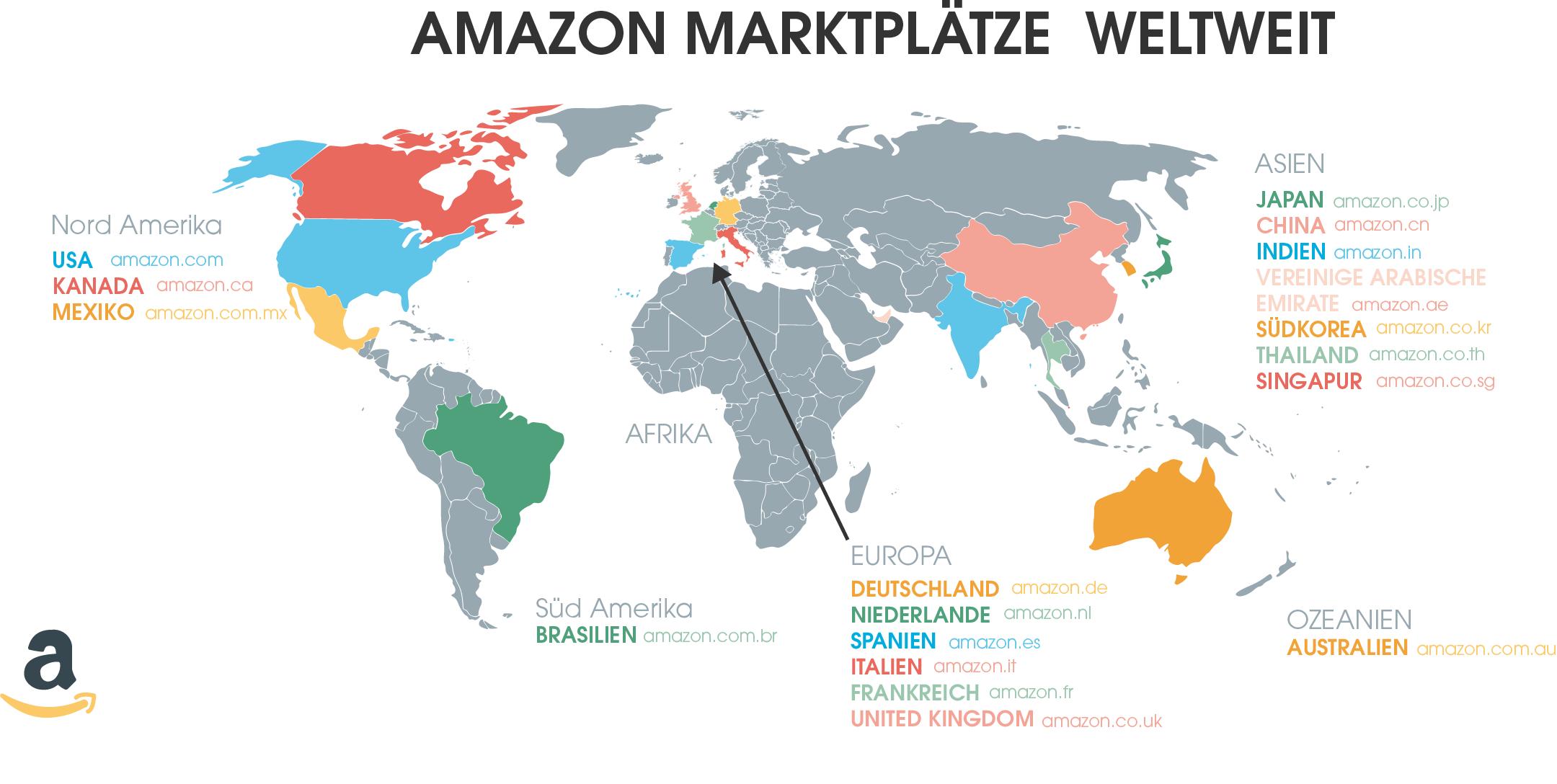 Diese Amazon Marktplätze gibt es aktuell weltweit.