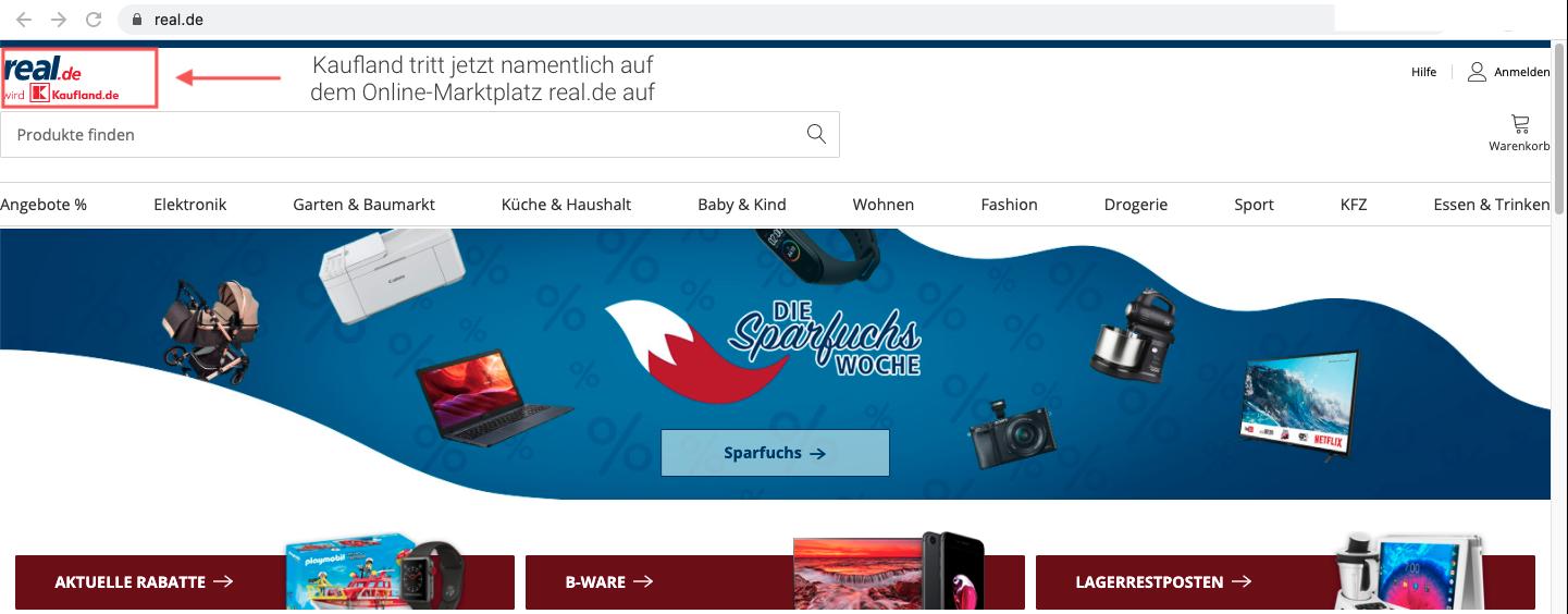 """Mit der Veränderung des Logos wird Kaufland seit dem 1. März auch auf real.de namentlich sichtbar: """"real de wird Kaufland.de"""""""