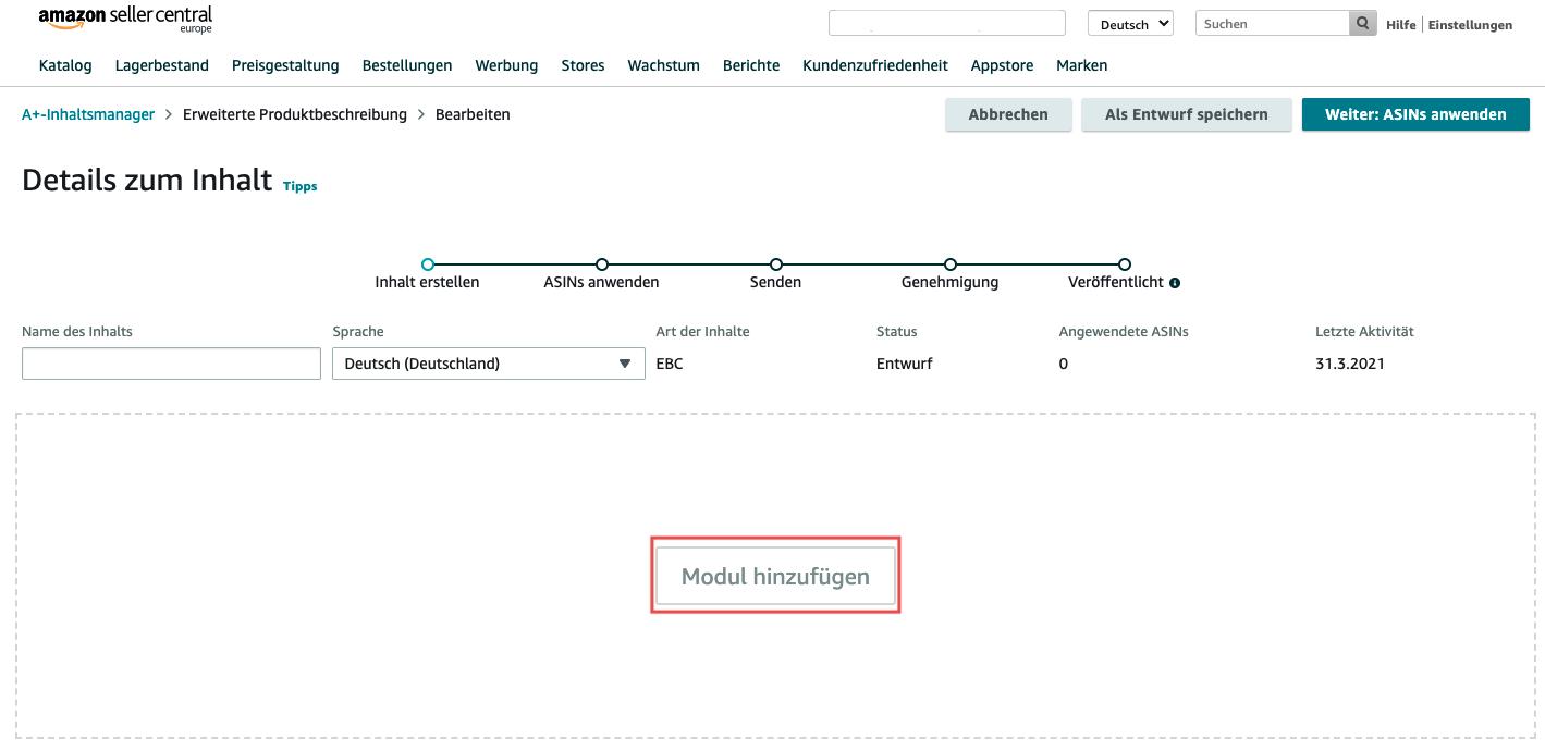Inhaltsmanager erweiterte Produktbeschreibung erstellen