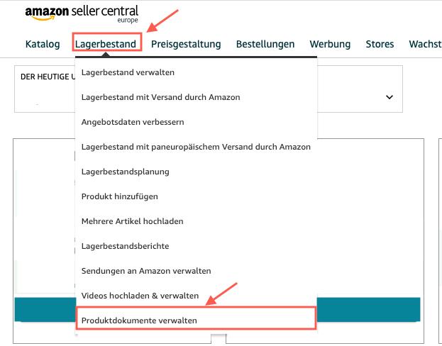 Menüpunkt, unter dem Produktdatenblätter im Amazon Seller Central hochgeladen werden können.