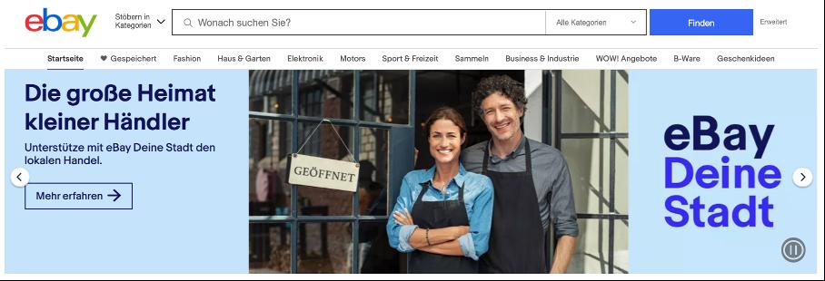 """eBay Banner zum Projekt: """"eBay Deine Stadt"""""""